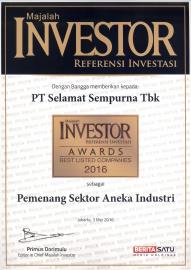 PT Selamat Sempurna Tbk (SMSM) records the achievement of receiving the Investor Awards 2016